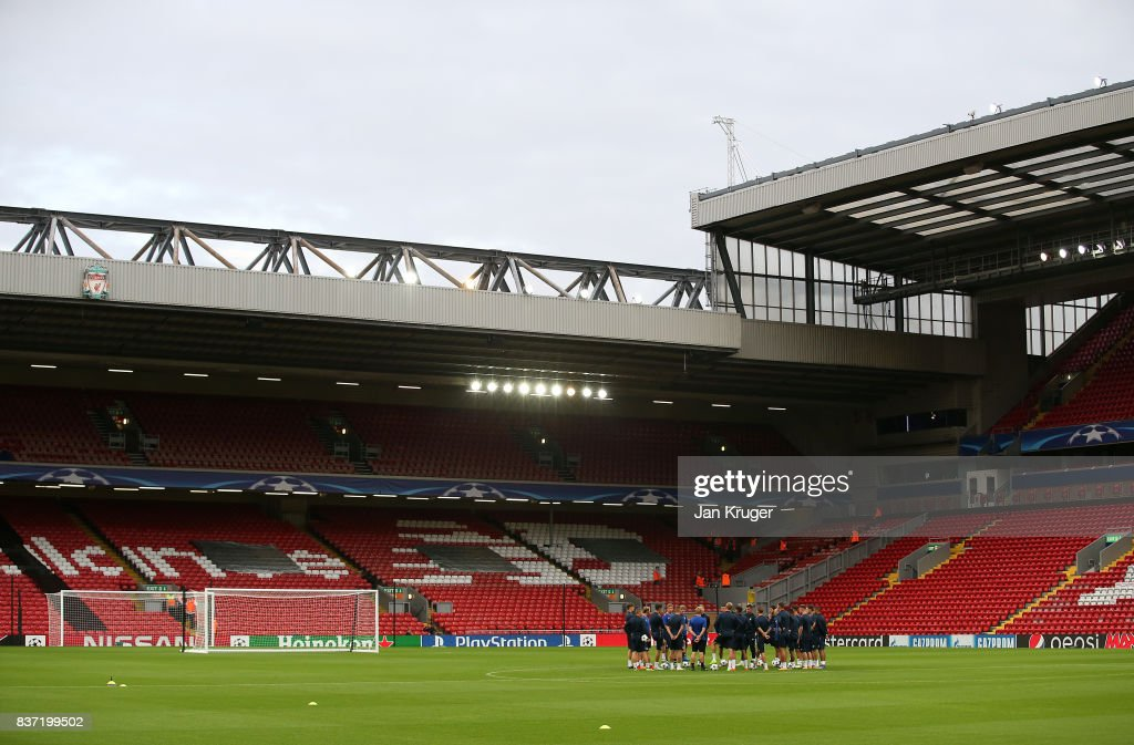 The players take to the pitch during the 1899 Hoffenheim Training Session at Anfield on August 22, 2017 in Liverpool, England. The second leg of the UEFA Champions League qualifier between Liverpool and Hoffenheim will take place on August 23rd.