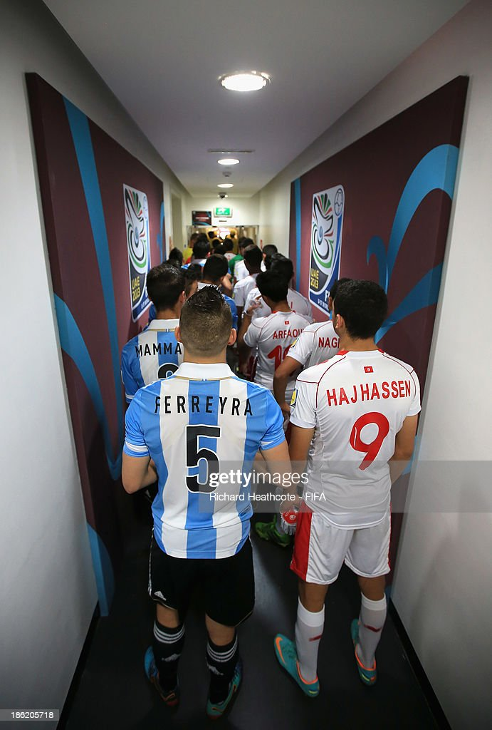 The players wait in the tunnel during the FIFA U-17 World Cup UAE 2013 round of 16 match between Argentina and Tunisia at the Rashid Stadium on October 29, 2013 in Dubai, United Arab Emirates.