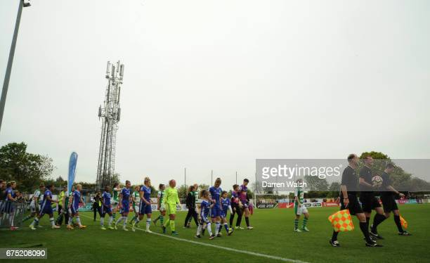 The Players walk out onto the pitch before the FA WSL 1 match between Chelsea Ladies and Yeovil Town Ladies at Wheatsheaf Park on April 30 2017 in...