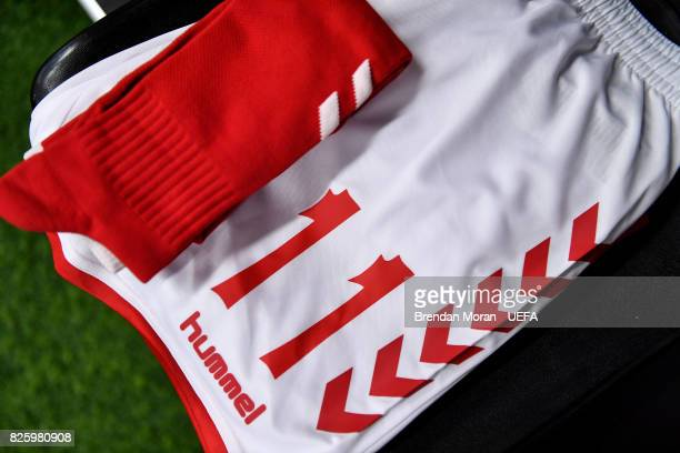 The playing gear of Katrine Veje in the Denmark dressingroom prior to the UEFA Women's EURO 2017 Semifinal match between Austria and Denmark at Rat...