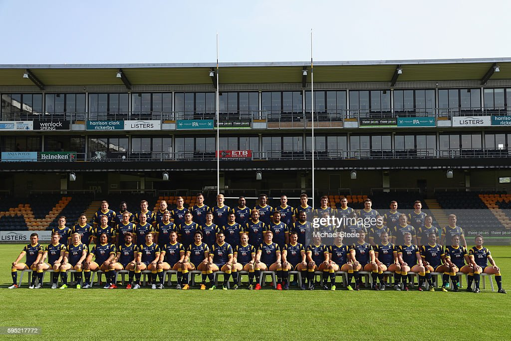 The playing squad of Worcester during the Worcester Warriors squad photo call for the 20162017 Aviva Premiership Rugby season on August 17 2016 in...