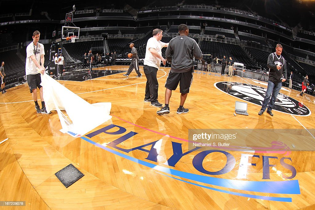 The playoff logo on the court before the game between the Brooklyn Nets and Chicago Bulls in Game One of the Eastern Conference Quarterfinals during the 2013 NBA Playoffs on April 20 at the Barclays Center in the Brooklyn borough of New York City.