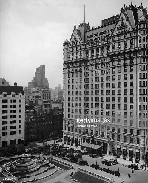 The Plaza Hotel in New York City situated on the corner of Fifth Avenue and Central Park South circa 1930