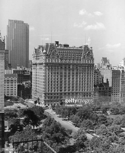The Plaza Hotel in New York City situated on the corner of Fifth Avenue and Central Park South circa 1950