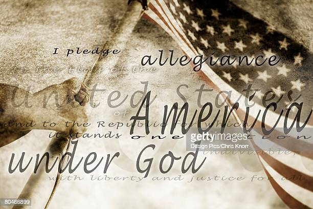 The Pledge of Allegiance and an American flag