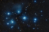 The Pleiades are an open star cluster containing middle-aged, hot B-type stars located in the constellation of Taurus. It is among the nearest star clusters to Earth and is the cluster most obvious to