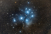 This is an open cluster of start in the constellation of Taurus. It's scientific notation is M45. The cluster is dominated by hot blue and extremely luminous stars that have formed within the last 100