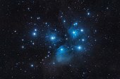 M45 - the Pleiades, Seven Sisters,  Deep Sky Astrophoto, Science. the pleiades M45 open star cluster in the constellation of taurus.