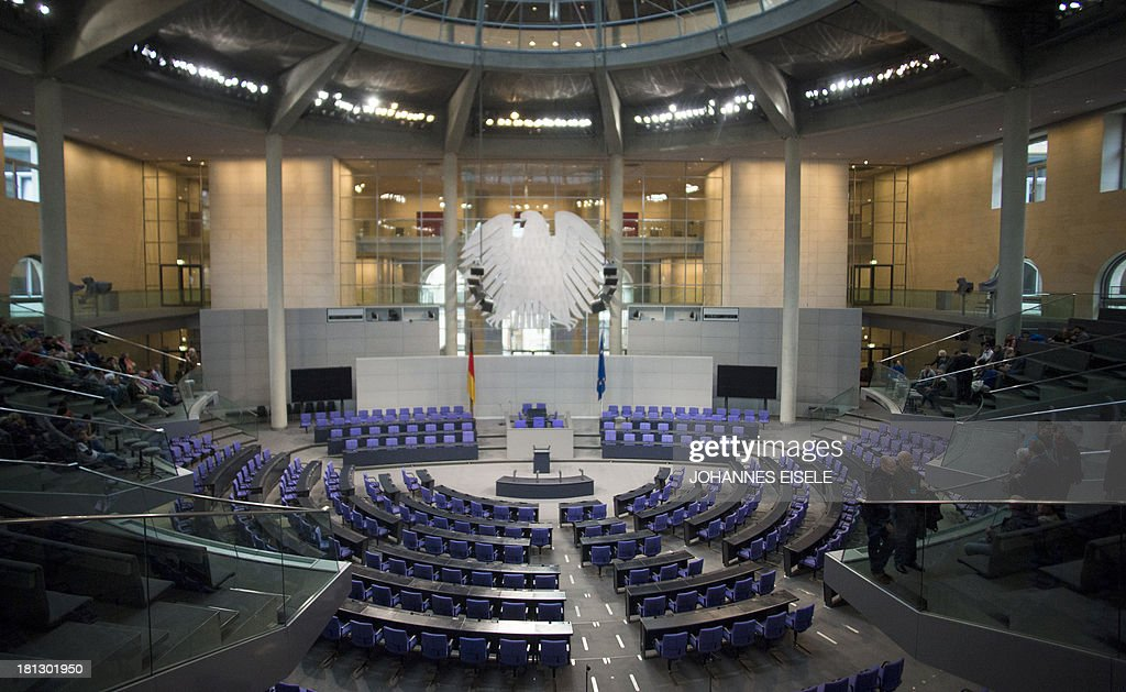 The plenary hall of the German Bundestag (lower house of parliament) in Berlin is pictured on September 20, 2013. Germans go to the polls on September 22, 2013.