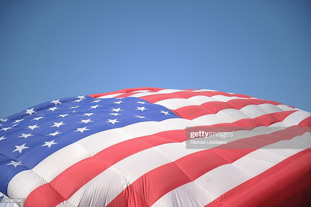 The PNC American Flag balloon is inflated in honor of America for Independence Day on the De Baun Athletic Complex at Stevens Institute of Technology...