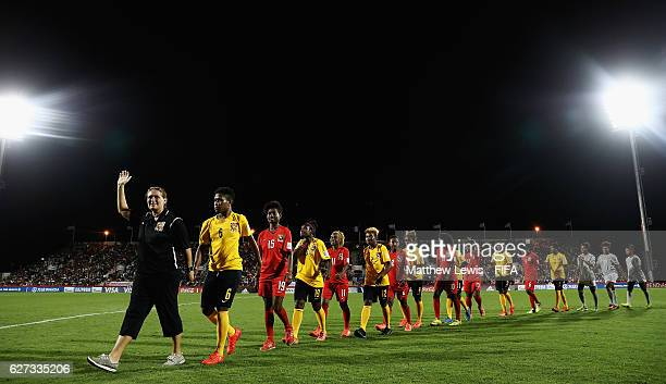The PNG Womens U20 team thank the supporters at half time during the FIFA U20 Women's World Cup Papua New Guinea 2016 Final between Korea DPR and...