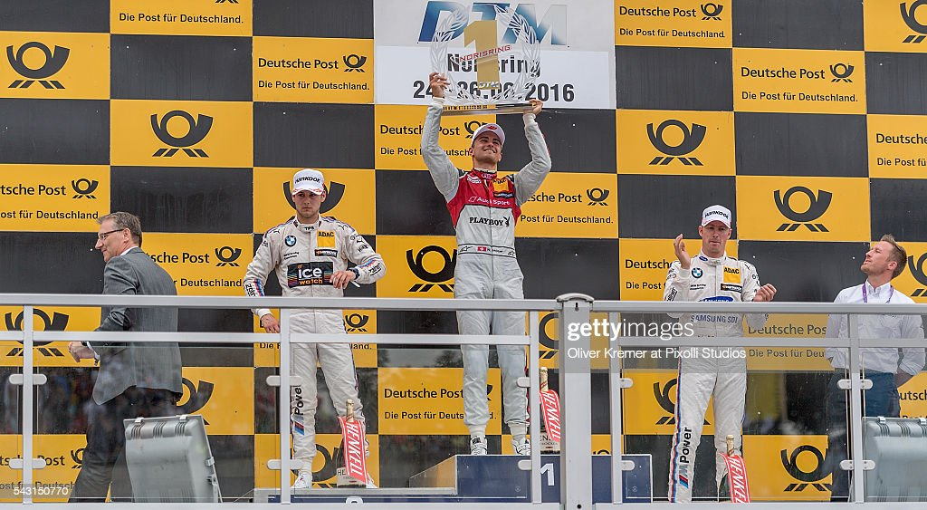 The podium after the German Touring Car Championship race with winner Nico Mueller (CHE) of Audi Sport Team Abt Sportsline, second place Tom Blomquist (GBR) of BWM Team RBM and third place Maxime Martin (BEL) of BWM Team RBM at the Norisring during Day 2 of the 74. International ADAC Norisring Speedweekend on June 26, 2016 in Nuremberg, Germany.