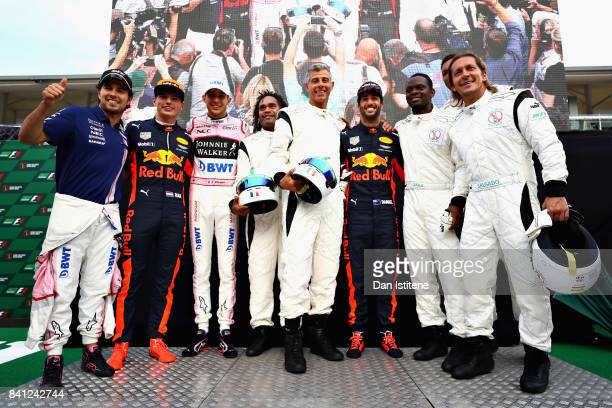 The podium celebrations at the karting event during previews for the Formula One Grand Prix of Italy at Autodromo di Monza on August 31 2017 in Monza...
