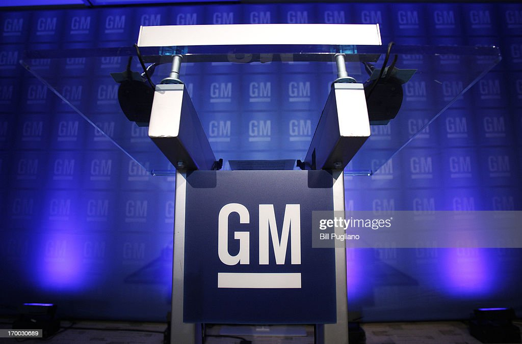 The podium from which General Motors Chairman and CEO Dan Akerson is expected to speak to the media after speaking to GM shareholders at the GM...