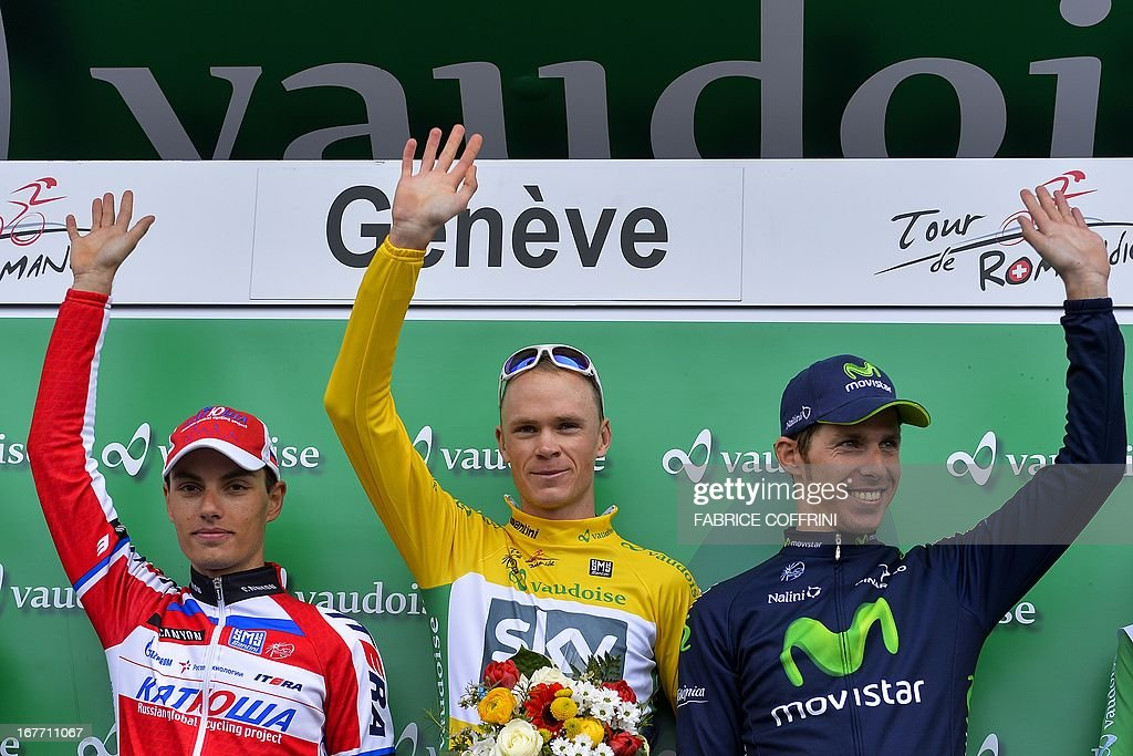 The podium of the Tour de Romandie cycling race (L - R) second Slovenian Simon Spilak, overall winner Christopher Froome of Great Britain and third Portugal's Rui Costa pose during the podium ceremony of the final stage, a 18,7 km time trial, on April 28, 2013 in Geneva.