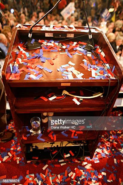 The podium where Democratic presidential hopeful New York Sen Hillary Rodham Clinton gave a speech after winning the Pennsylvania primary on April 22...