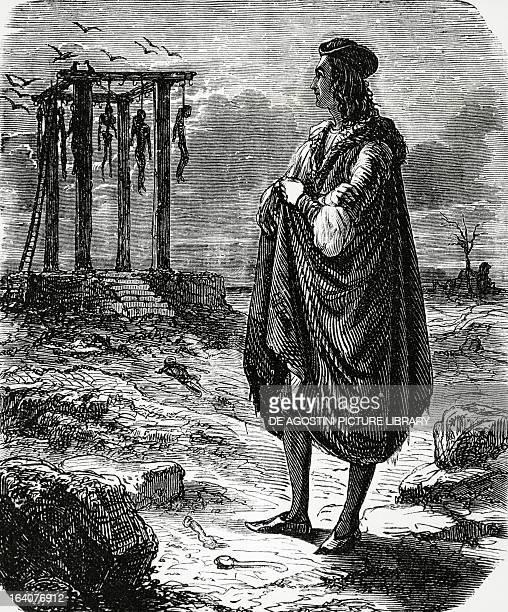 The poet Francois de Montcorbier known as Francois Villon looking at the Montfaucon gallows From Histoire politique des ecoles et des etudiants by...