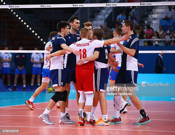 The Poland team celebrate a point during the Men's Volleyball quarter final match against Slovakia on day twelve of the Baku 2015 European Games at...