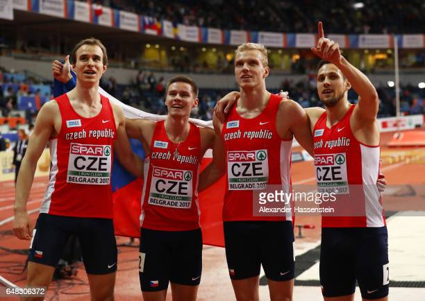 The Poland team celebrate after winning the gold medal in the Men's 4x400 metres relay final on day three of the 2017 European Athletics Indoor...