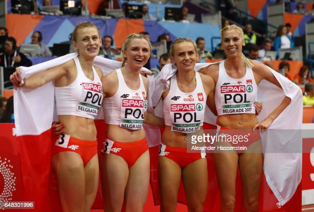 The Poland team celebrate after winning the gold medal in the Women's 4x400 metres relay final on day three of the 2017 European Athletics Indoor...