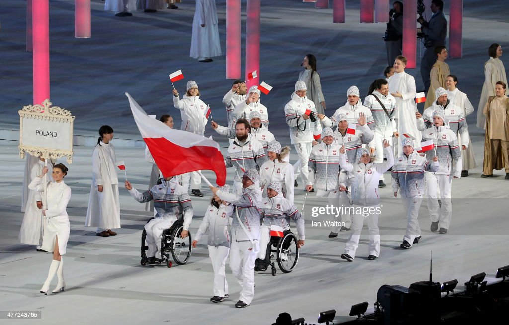 The Poland team enter the stadium during the Opening Ceremony of the Sochi 2014 Paralympic Winter Games at Fisht Olympic Stadium on March 7, 2014 in Sochi, Russia.