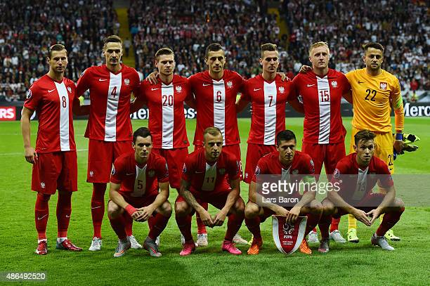The Poland team line up during the EURO 2016 Qualifier Group D match between Germany and Poland at CommerzbankArena on September 4 2015 in Frankfurt...