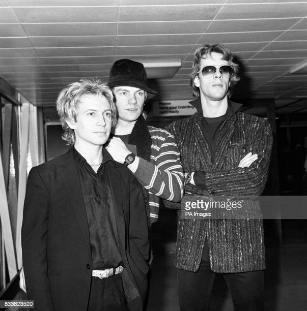 The Police at London's Heathrow airport Andy Summers Sting and Stewart Copeland The group take to the stage at Croke Park as part of their global...