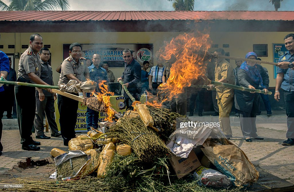 The police burned marijuana when the destruction of evidence in operating results during the last four months in Lhokseumawe, Aceh province, Indonesia, on May 3, 2016. A total of 110 Kilograms of dried marijuana and 2.4 Kilograms of methamphetamine were destroyed by police the resorts Lhokseumawe. Indonesia has some of the world's toughest anti-narcotics laws and people caught smuggling more than five grams of some controlled substances can be sentenced to death.