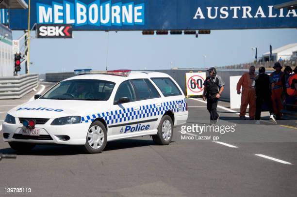 The Police car in pit after the incident in which died the young rider Queenslander Oscar McIntyre during the 2012 Superstock 600cc Australian...