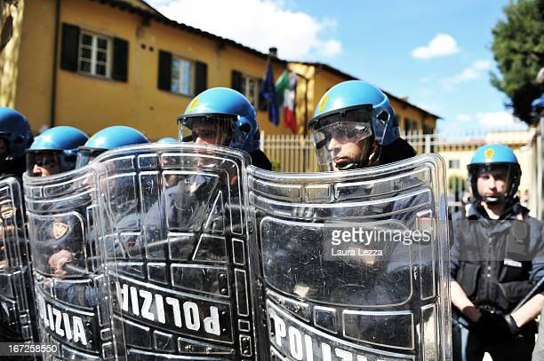 The police deployed outside the University set up during moments of tension with students at Scuola Superiore Sant'Anna on April 23 2013 in Pisa...
