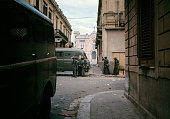 The police guarding the roads of central Calabria where there are riots due to the decision taken by the provincial capital Reggio Calabria September...