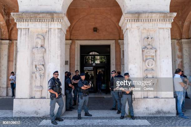 The police in front of the entrance of the Department of Commerce during the protest of two hundred street vendors in piazza Bocca della Verita...