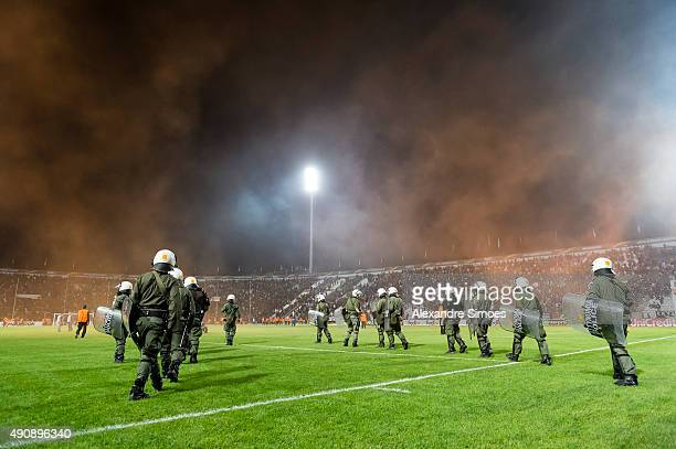 The police is busy after the final whistle during the UEFA Europa League Group C match between PAOK FC and Borussia Dortmund at Toumba Stadium on...