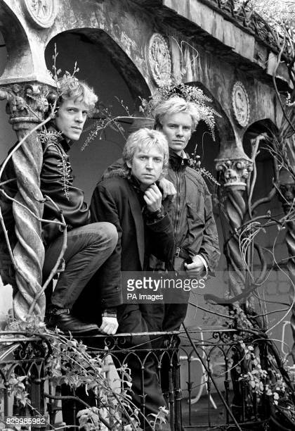 The Police left to right Stewart Copeland Andy Summers and Sting in London launching their new single 'Every Breath You Take' and their first album...