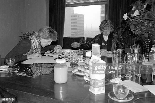 The Police looking at photographs in the offices of AM Records in New York City on April 04 1979 LR Stewart Copeland Andy Summers