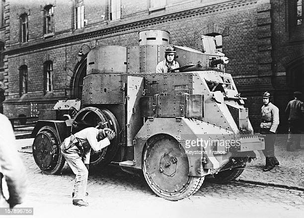 The police of Berlin in armoured cars for the maintenance of law and order in 1928 in Berlin Germany