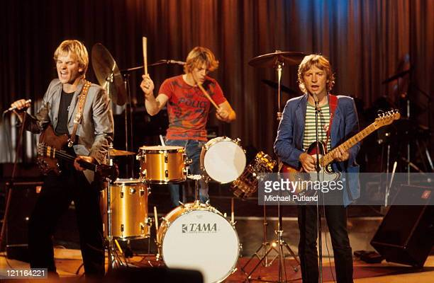 The Police perform on stage New York LR Sting Stewart Copeland Andy Summers