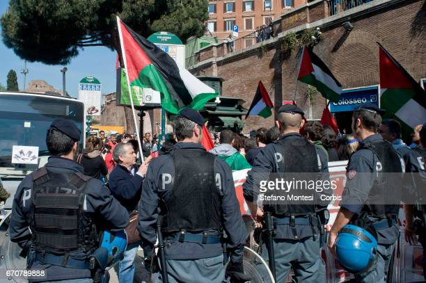 The police stop the proPalestinian protesters during the march for the Liberation of Nazifascism organised by the National Association of Italian...