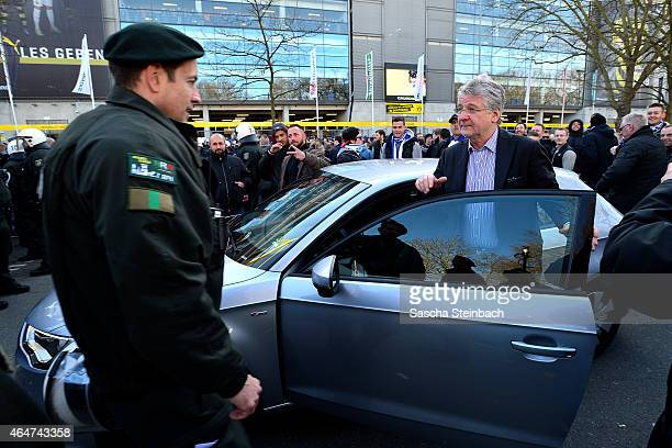 The police stops sports commentator Marcel Reif in his car and won't let him pass prior to the Bundesliga match between Borussia Dortmund and FC...