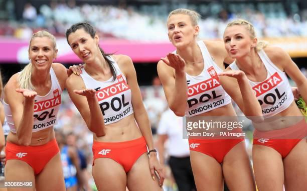 The Polish 4x400m Women's Relay Team Iga Baumgart Martyna Dabrowska Patrycja Wyciszkiewicz and Malgorzata Holub blow kisses to the crowd during day...