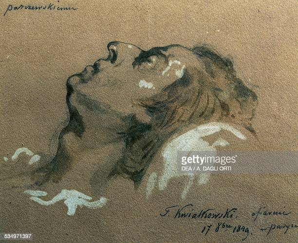 The Polish composer and pianist Frederic Chopin on his deathbed sketch by Teofil Kwiatkowski 19th century Varsavia Muzeum Fryderyka Chopina