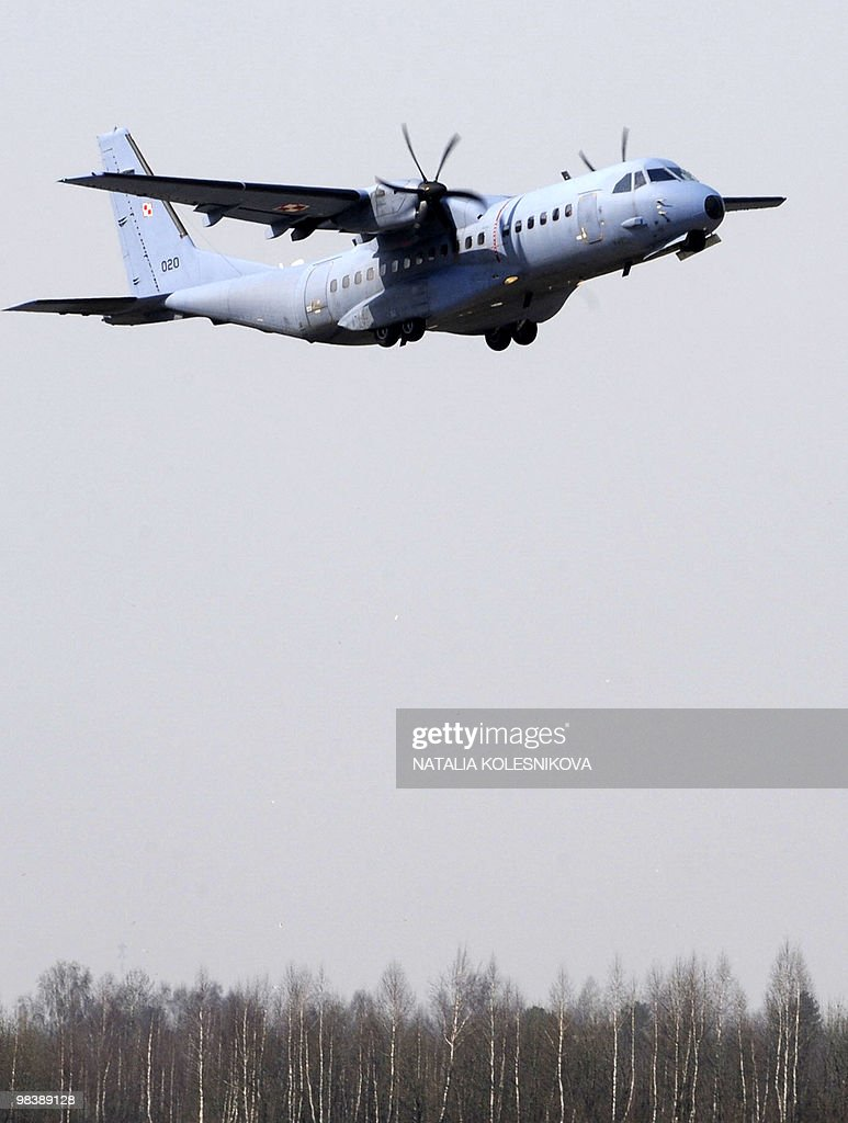 The Polish military airplane carrying the body of Polish President Lech Kaczynski took off at Smolensk airport on April 11 2010 Russian Prime...