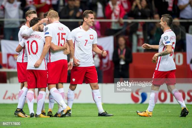 The Polish players celebrate Arkadiusz Milik goal during the FIFA World Cup 2018 Qualifying Round match between Poland and Kazakhstan at National...