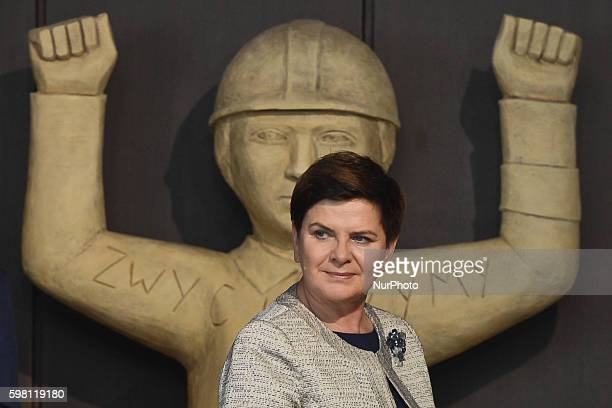 The Polish PM Beata Szydlo during a Anniversary of the Gdansk 1980 Agreements ceremony in the BHP historical room inside the Gdansk Shipyard on...