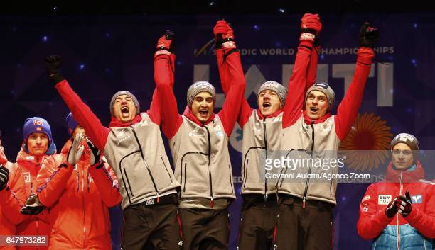 The Polish team won the gold medal after the FIS Nordic World Ski Championships Men's Team Ski Jumping HS130 on March 4 2017 in Lahti Finland