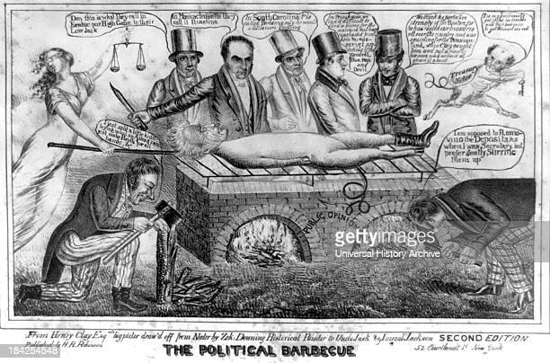 The political barbecue by Henry Robinson circa 1834 Lithograph print on wove paper Political cartoon criticizing President Andrew Jackson The...