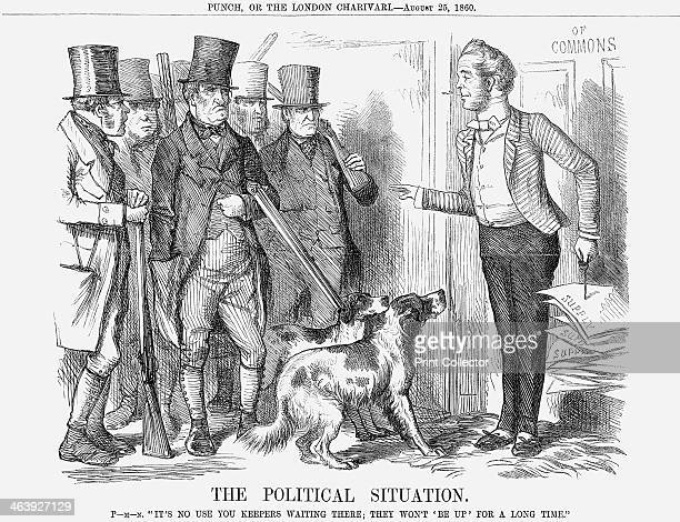 'The Political Situation' 1860 This cartoon shows all the various gamekeepers employed on the estates of the Members of Parliament in 1860 Even as...