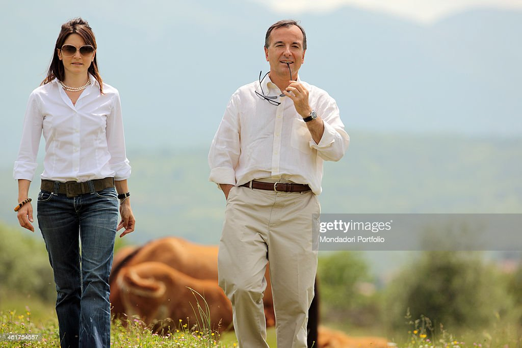 The politician and Minister of Foreing Affairs <a gi-track='captionPersonalityLinkClicked' href=/galleries/search?phrase=Franco+Frattini&family=editorial&specificpeople=536993 ng-click='$event.stopPropagation()'>Franco Frattini</a> and his partner Stella Coppi photo shooted in their country house. Torricella in Sabina, Italy. 30th May 2010