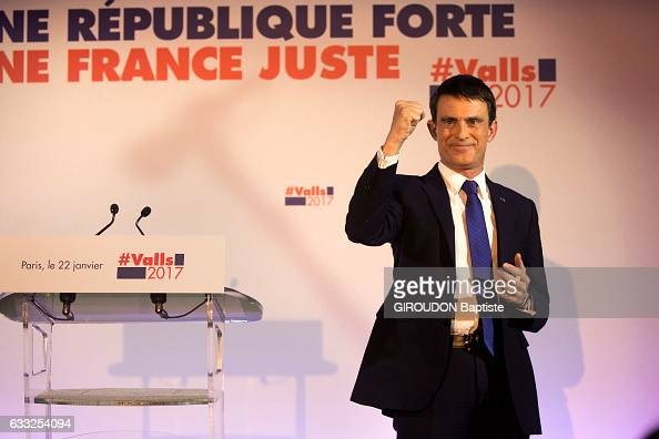 The politician Manuel Valls elected the first round of the primary elections of the left party on january 22 2017 in Paris France