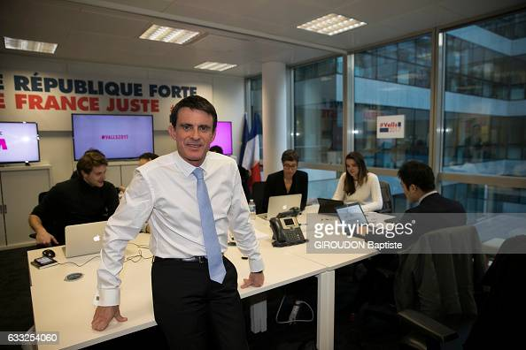 the politician Manuel Vals poses for Paris Match with his office team on january 23 2017 in Paris France